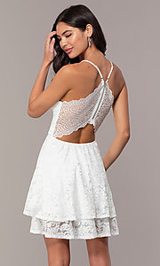 Image of glitter-lace short white party dress with tiers. Style: EM-FQP-3473-100 Back Image