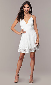 Image of glitter-lace short white party dress with tiers. Style: EM-FQP-3473-100 Detail Image 3