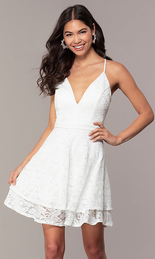 Image of glitter-lace short white party dress with tiers. Style: EM-FQP-3473-100 Front Image