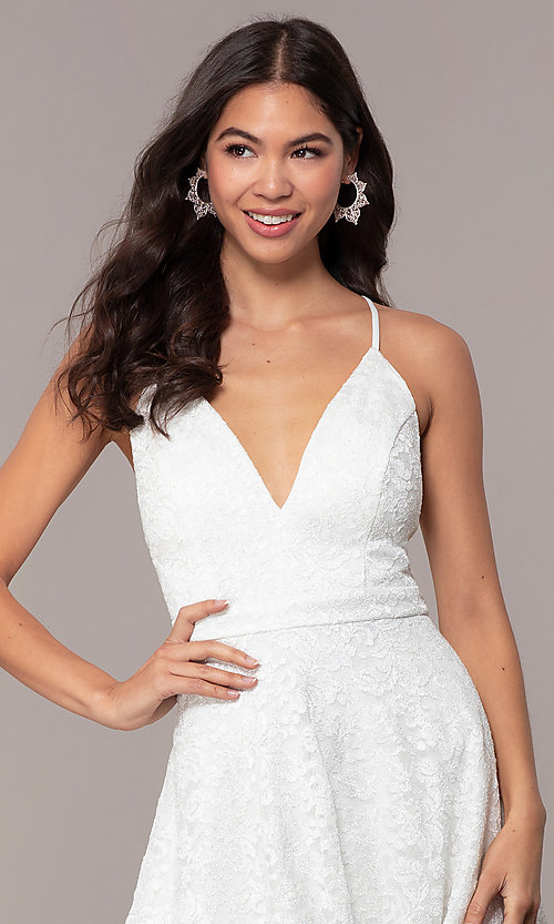 Image of glitter-lace short white party dress with tiers. Style: EM-FQP-3473-100 Detail Image 1