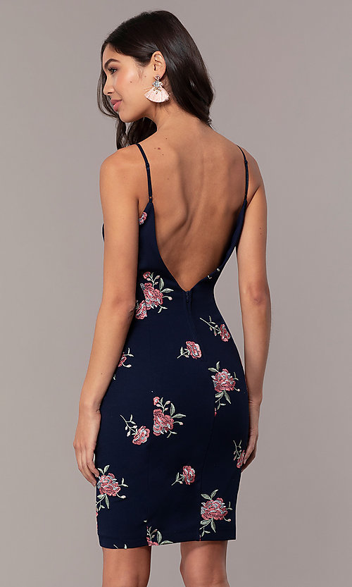 Image of navy embroidered wedding-guest dress with v-back. Style: EM-FXH-3986-425 Back Image
