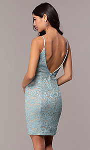 Image of open-back glitter-lace wedding-guest dress in aqua. Style: EM-FXH-4019-450 Back Image