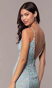 Image of open-back glitter-lace wedding-guest dress in aqua. Style: EM-FXH-4019-450 Detail Image 2
