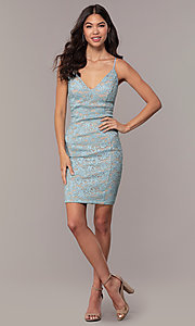 Image of open-back glitter-lace wedding-guest dress in aqua. Style: EM-FXH-4019-450 Detail Image 3