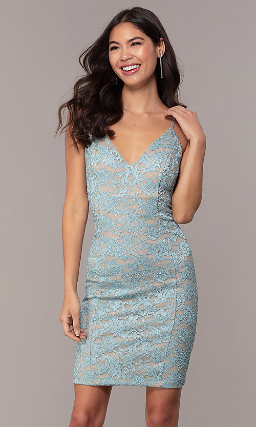 Image of open-back glitter-lace wedding-guest dress in aqua. Style: EM-FXH-4019-450 Front Image