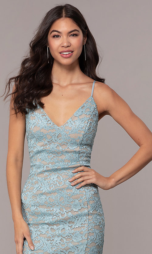 Image of open-back glitter-lace wedding-guest dress in aqua. Style: EM-FXH-4019-450 Detail Image 1