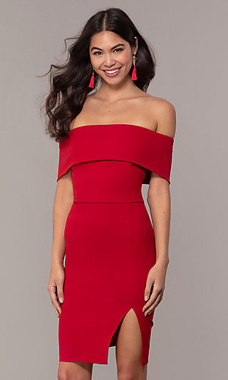 Short Off-the-Shoulder Red Wedding Guest Dress