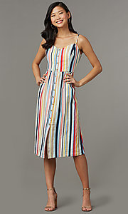 Image of knee-length casual striped party dress. Style: EM-HGV-4062-195 Front Image