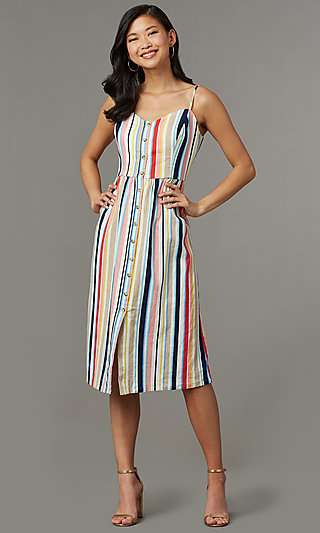 Knee-Length Casual Cruise Striped Party Dress