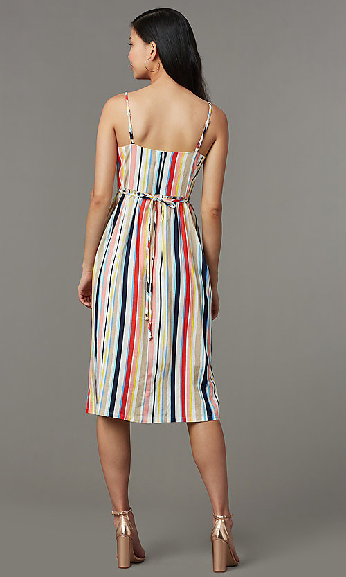 Image of knee-length casual striped party dress. Style: EM-HGV-4062-195 Back Image