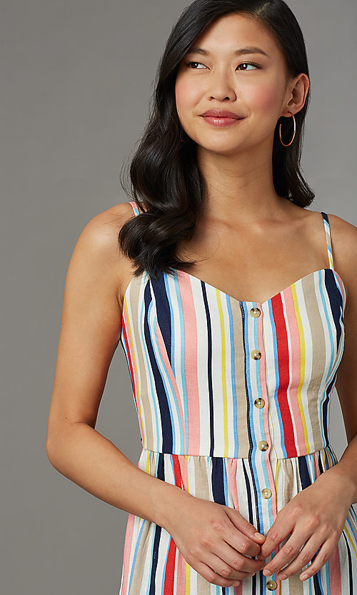 Image of knee-length casual striped party dress. Style: EM-HGV-4062-195 Detail Image 1
