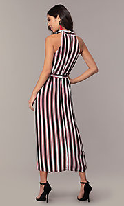 Image of short striped casual party dress with overskirt. Style: EM-FVA-4033-096 Back Image