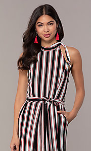 Image of short striped casual party dress with overskirt. Style: EM-FVA-4033-096 Detail Image 1