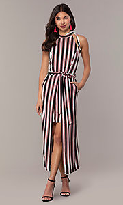 Image of short striped casual party dress with overskirt. Style: EM-FVA-4033-096 Detail Image 3