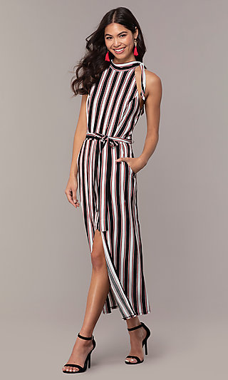 Long Walk-Through High-Neck Striped Party Dress