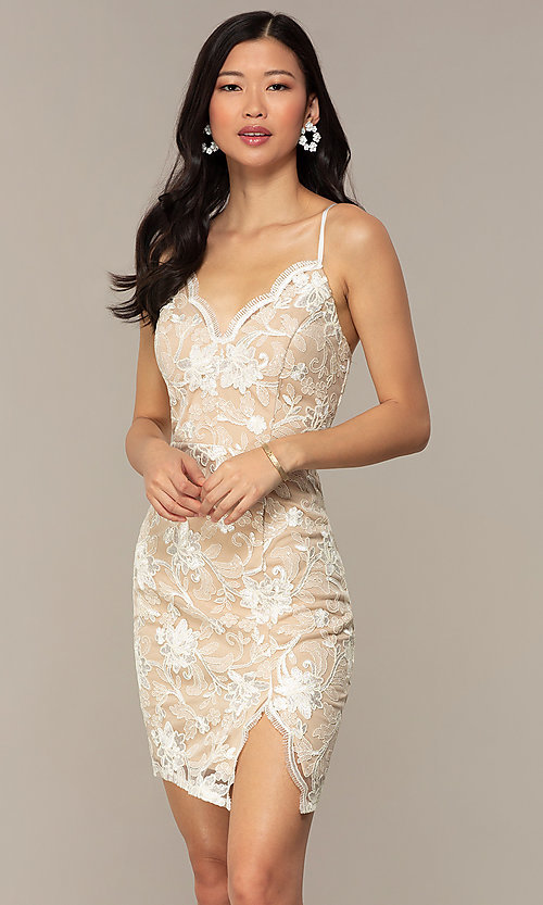 Image of ivory and nude v-neck embroidered grad party dress. Style: EM-FWR-3814-083 Front Image