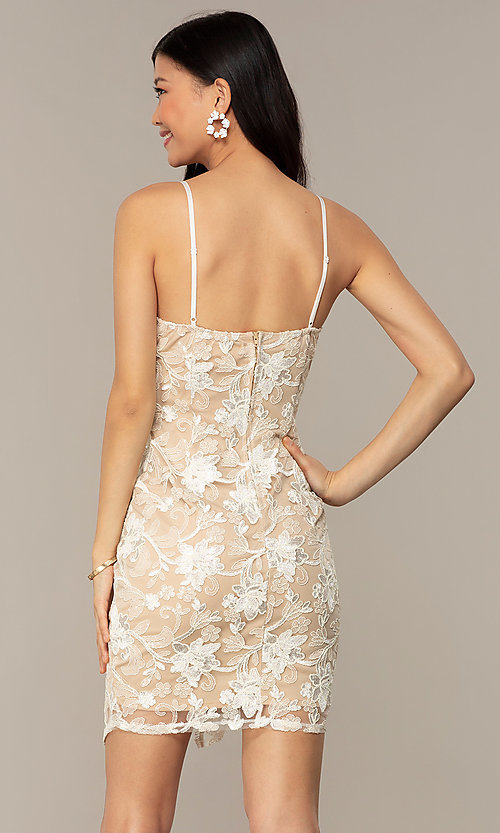 Image of ivory and nude v-neck embroidered grad party dress. Style: EM-FWR-3814-083 Back Image
