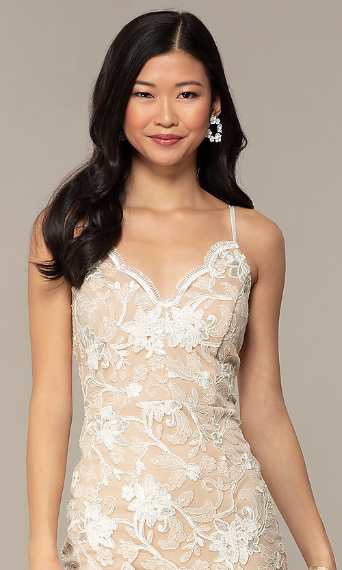 Image of ivory and nude v-neck embroidered grad party dress. Style: EM-FWR-3814-083 Detail Image 1