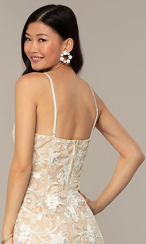 Image of ivory and nude v-neck embroidered grad party dress. Style: EM-FWR-3814-083 Detail Image 2