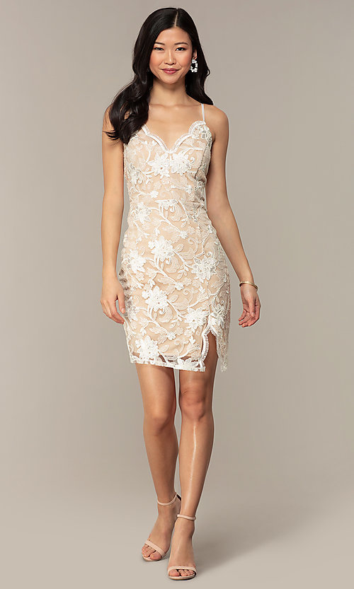 Image of ivory and nude v-neck embroidered grad party dress. Style: EM-FWR-3814-083 Detail Image 3