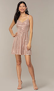 Image of short metallic-sequin spandex grad party dress. Style: EM-FLU-4114-850 Detail Image 3