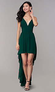 Image of v-neck high-low wedding-guest dress with lace back.  Style: EM-FWT-1027-304 Detail Image 3