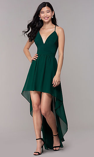 0b0f90d615 Dark Green Electric Blue Red. V-Neck High-Low Wedding-Guest Dress with Lace  Back