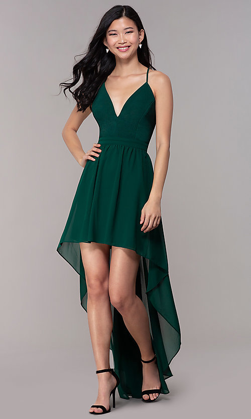 Image of v-neck high-low wedding-guest dress with lace back.  Style: EM-FWT-1027-304 Front Image