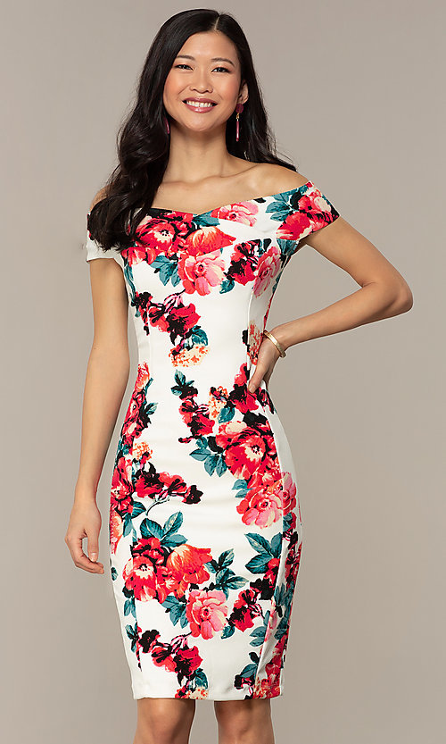 Image of knee-length print off-shoulder wedding guest dress. Style: EM-HEY-4036-142 Front Image