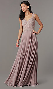 Image of embellished-bodice long mauve chiffon formal dress. Style: FB-PL-GL9003 Front Image