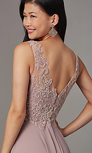 Image of embellished-bodice long mauve chiffon formal dress. Style: FB-PL-GL9003 Detail Image 2