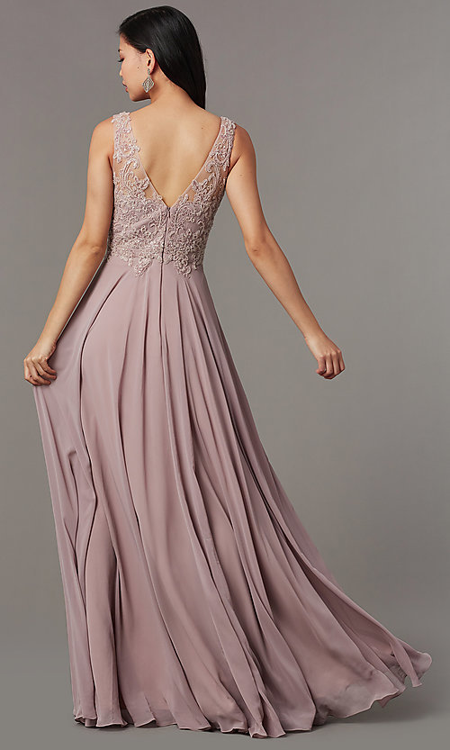 Image of embellished-bodice long mauve chiffon formal dress. Style: FB-PL-GL9003 Back Image