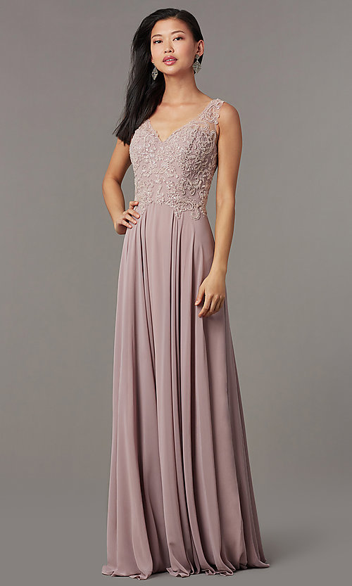 Image of embellished-bodice long mauve chiffon formal dress. Style: FB-PL-GL9003 Detail Image 1