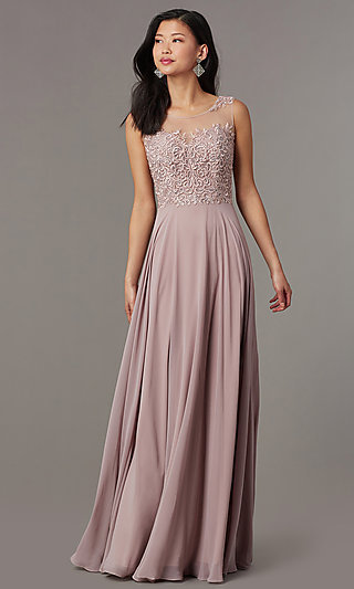 Long Mauve Formal Prom Dress with Corset Back