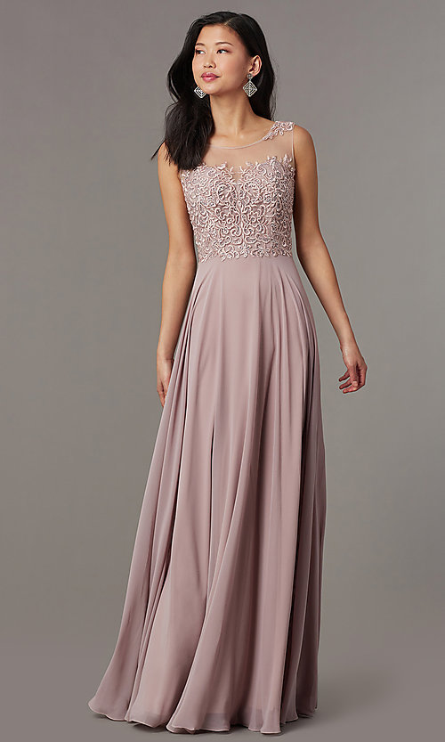 Image of long mauve formal prom dress with corset back. Style: FB-PL-GL9004 Front Image