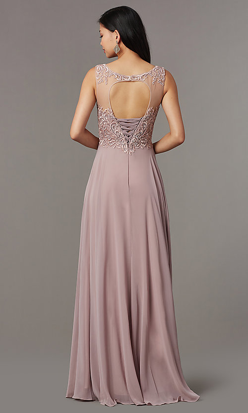 Image of long mauve formal prom dress with corset back. Style: FB-PL-GL9004 Back Image