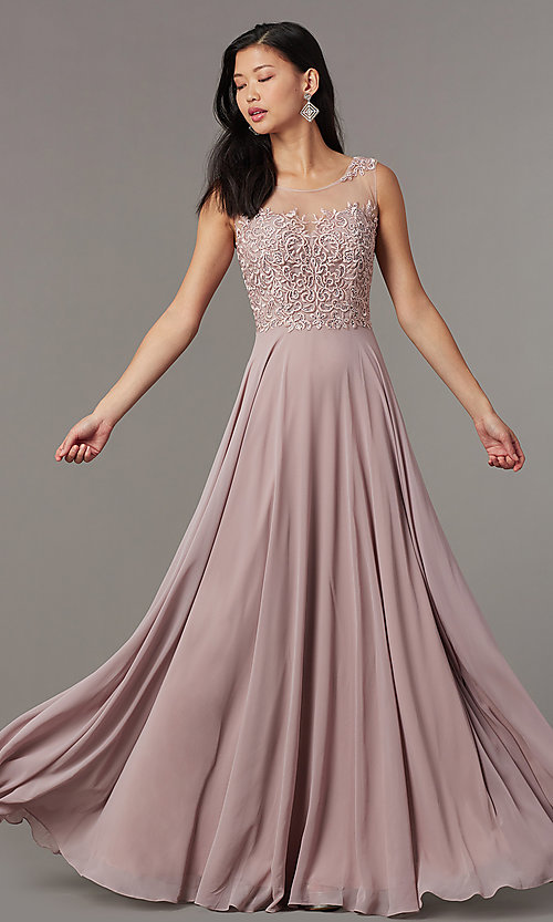 Image of long mauve formal prom dress with corset back. Style: FB-PL-GL9004 Detail Image 3