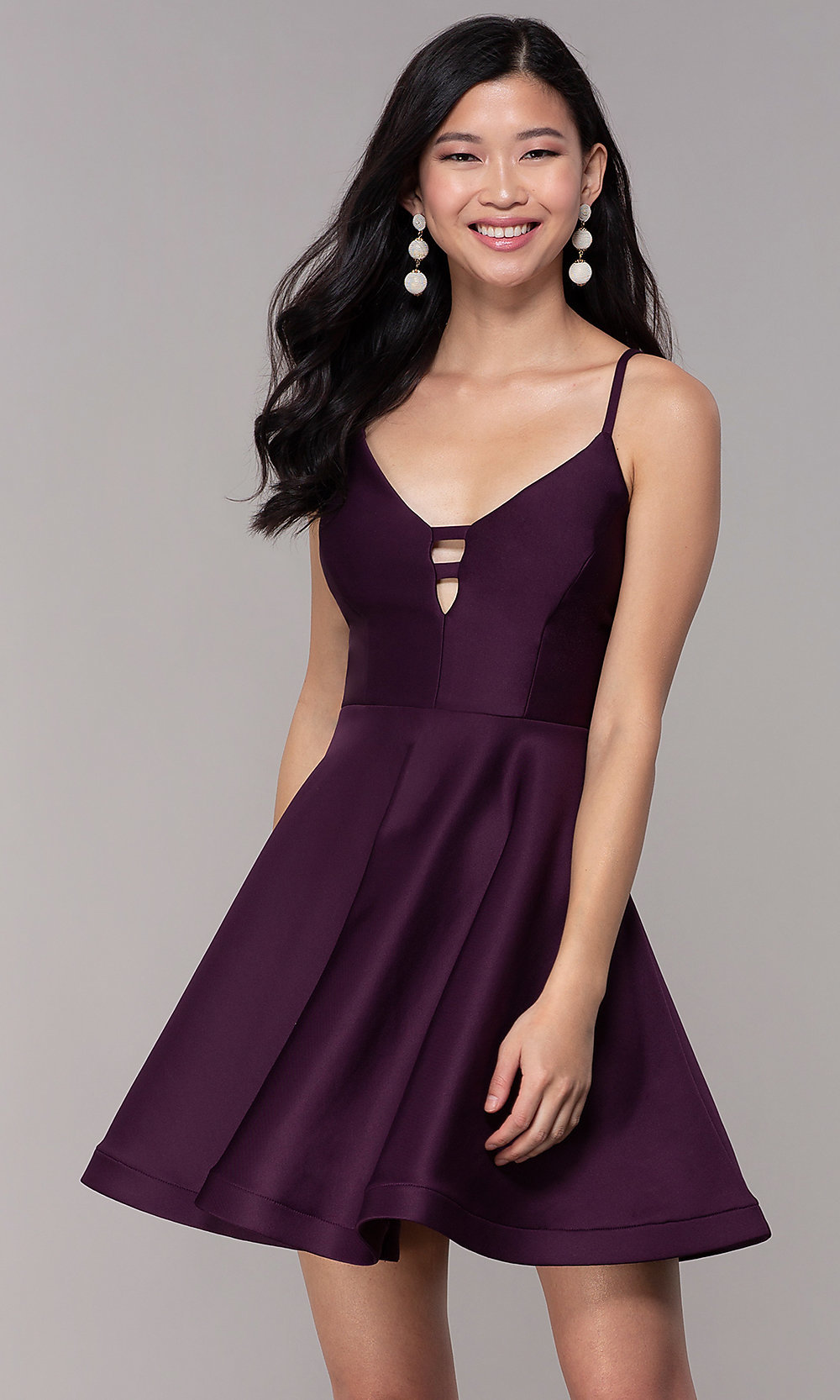 Plum Purple Short Party Dress With Cut Outs