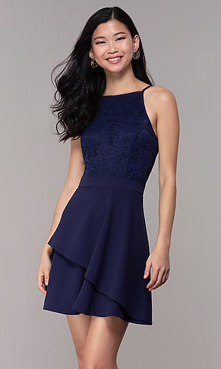 Lace-Bodice Short Wedding-Guest Dress in Navy Blue