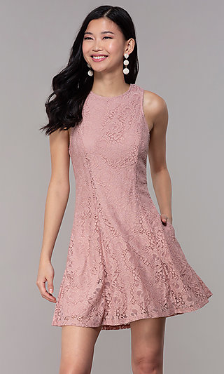 Antique Rose Short Lace Party Dress with Pockets