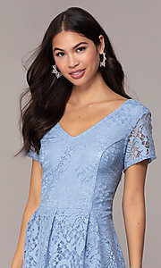 Image of powder blue lace short party dress with bow. Style: SS-JA34231HTM Detail Image 1