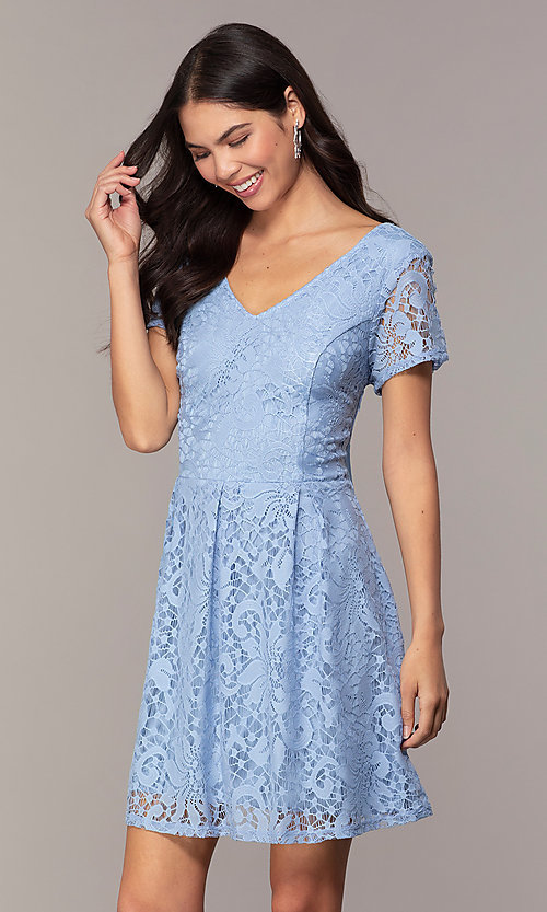 Image of powder blue lace short party dress with bow. Style: SS-JA34231HTM Front Image