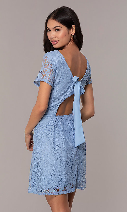 Image of powder blue lace short party dress with bow. Style: SS-JA34231HTM Back Image