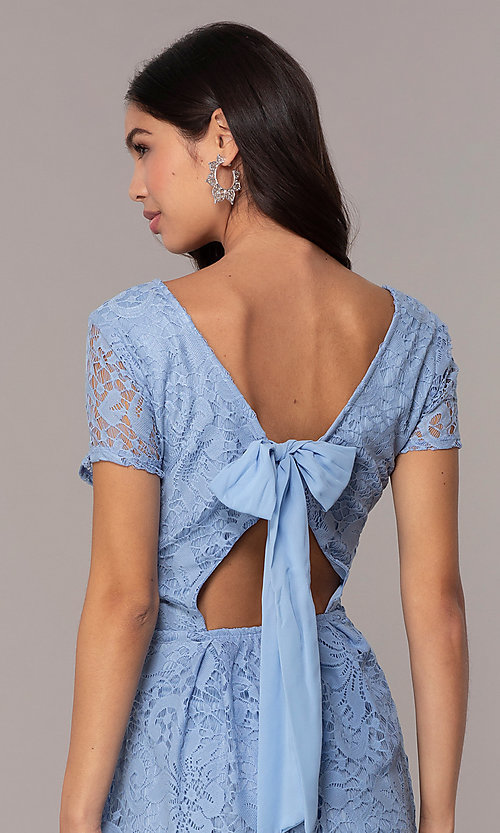 Image of powder blue lace short party dress with bow. Style: SS-JA34231HTM Detail Image 2