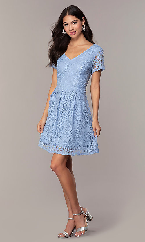 Image of powder blue lace short party dress with bow. Style: SS-JA34231HTM Detail Image 3