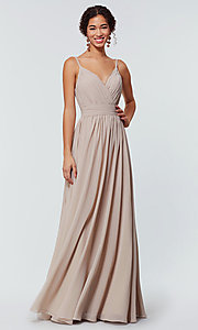 Image of long chiffon bridesmaid dress with beaded neckline. Style: KL-200128 Detail Image 1