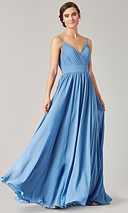 Image of long chiffon bridesmaid dress with beaded neckline. Style: KL-200128 Detail Image 3