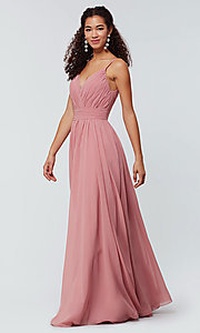 Image of long chiffon bridesmaid dress with beaded neckline. Style: KL-200128 Front Image