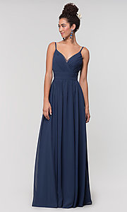 Image of long chiffon bridesmaid dress with beaded neckline. Style: KL-200128 Detail Image 6
