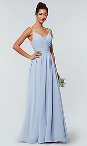 Image of long chiffon bridesmaid dress with beaded neckline. Style: KL-200128 Detail Image 2